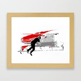Spinning the Deck - Tail-whip Scooter Stunt Framed Art Print