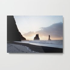 Gold and dark - Iceland | landscape - photography - print - travel - reynisfjara - sunrise - nature Metal Print