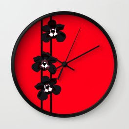 Black Orchids Wall Clock