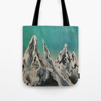 mountains Tote Bags featuring Mountains by Amelia Senville