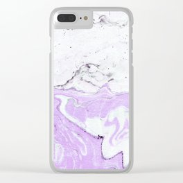 Purple Pastel Marble Clear iPhone Case