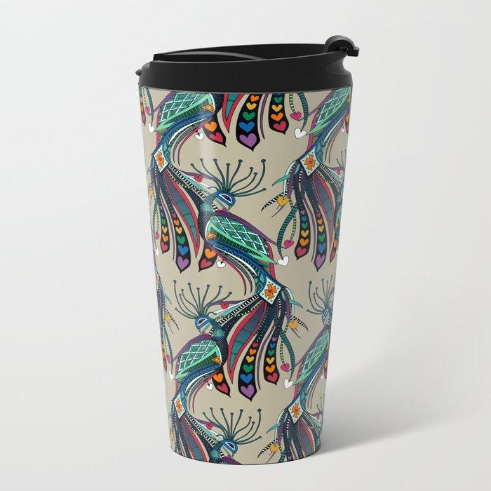 peacock rainbow love Metal Travel Mug