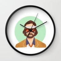 tenenbaum Wall Clocks featuring Richie Tenenbaum by Galaxyspeaking
