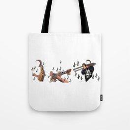 Trio, musicians abstract trombone, saxophone , guitar Tote Bag