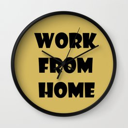 Work From Home (gold) Wall Clock