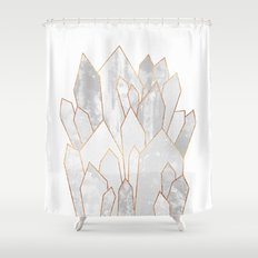 White Crystals Shower Curtain