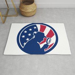 American Private Investigator USA Flag Icon Rug