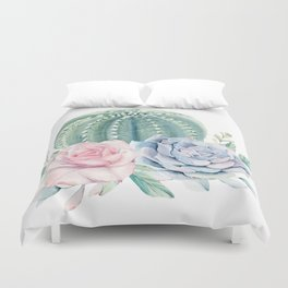 Cactus Rose Succulents Duvet Cover