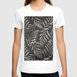 Modern Gold Leaves on Dark Marble T-shirt