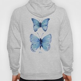 Two Blue Butterflies Watercolor Hoody