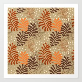 Abstract rustic botanical foliage brown beige burgundy red orange autumn leaf print Art Print