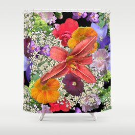 Newt in multi color floral Shower Curtain