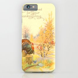 Thanksgiving postcards 506 Turkey  axe  My heartiest good wishes for your Thanksgiving iPhone Case