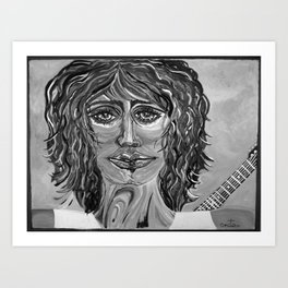 Guitar back me up BW Art Print