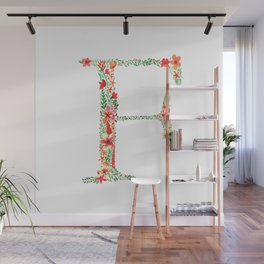 Floral Monogram Letter F Wall Mural