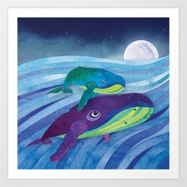 Shanti Sparrow: Shelby and Sheldon the Whales Art Print
