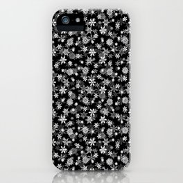 Festive Black and White Christmas Holiday Snowflakes iPhone Case
