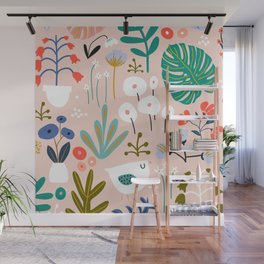 Mid-Century Modern Floral and Leaves Print Wall Mural