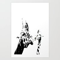 giraffes Art Prints featuring Giraffes  by Digital-Art