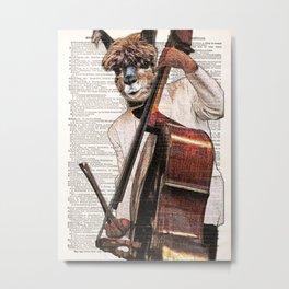 Lama wall art, Alpaca play Cello Print, Alpaca Art Print, Animal print, vintage dictionary page book Metal Print