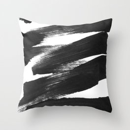 Black Brushstrokes Abstract Ink Painting Throw Pillow