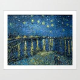Van Gogh, Starry Night Over The Rhone Artwork Reproduction, Posters, Tshirts, Prints, Bags, Men, Wom Art Print