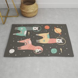 Astronaut Llamas in Space Rug