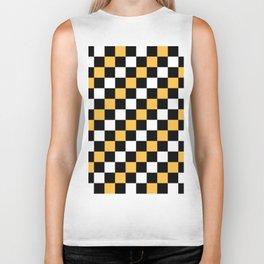 Diagonal Pixel Yellow Black white Biker Tank