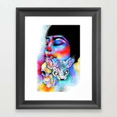 Skull cat Framed Art Print