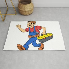 Happy running handyman cartoon illustration Rug