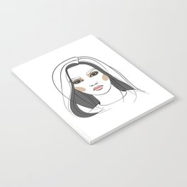 Asian woman with long hair. Abstract face. Fashion illustration Notebook