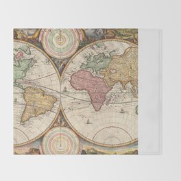 Vintage Map of The World (1730) Throw Blanket