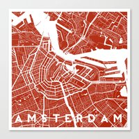 amsterdam Canvas Prints featuring Amsterdam. by Studio Tesouro