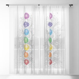 7 Chakra Symbol Tree Of Life #26 Sheer Curtain