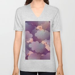 Heavenly Baby Sheep II - Wine Purple / Plum Color, Star Night Sky Background Unisex V-Neck