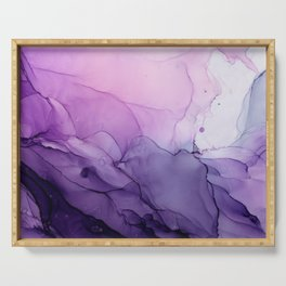 Purple Amethyst Crystal Inspired Abstract Flow Painting Serving Tray