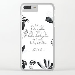 Albert Einstein Black and White Inspirational Quote Clear iPhone Case
