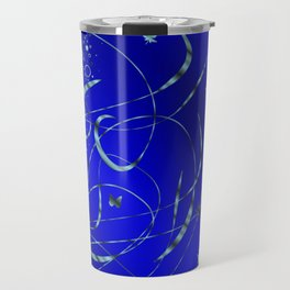 blue festive shiny metal pattern with small butterflies, Asian flowers and drops of water Travel Mug