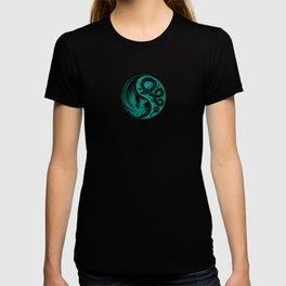 Teal Blue and Black Dragon Phoenix Yin Yang T-shirt