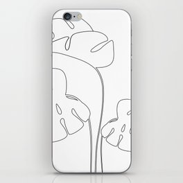 Monstera plant leafs line art Art black and white iPhone Skin