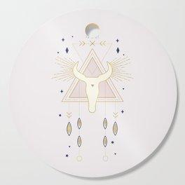 Bull Skull and stars - magical tarot illustration no7 Cutting Board