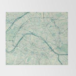 Paris Map Blue Vintage Throw Blanket