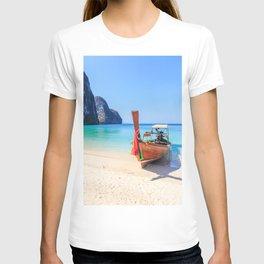 Long tail boat on white sand beach land T-shirt