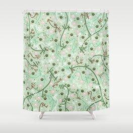 Mint Chip Paw Prints Shower Curtain