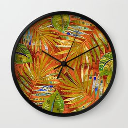 Tropical Leaves Abstract Wall Clock