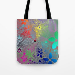 Flowers In Lace Rainbow Tote Bag