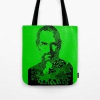 steve jobs Tote Bags featuring Steve Jobs green by Rebecca Bear