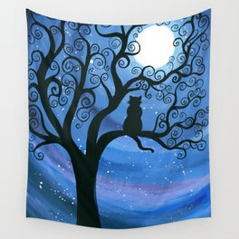 Meowing at the moon - moonlight cat painting Wall Tapestry