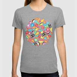 Rainbow Diet - a colorful assortment of hand-drawn candy on pale pink T-shirt