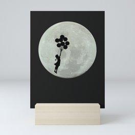 Moon Girl Floating Balloons Mini Art Print